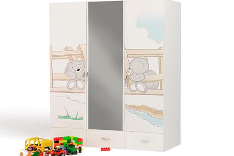 Шкаф 3-х дверный Bears с зеркалом